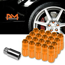 M12X1.5 Orange JDM Closed End Cone Hex Wheel Lug Nuts+Extension 20mmx50mm 20Pc