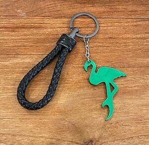 Green Alloy Flamingo Bottle OpenerKeychain with Imitation Leather Strap
