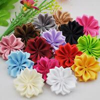 20pcs satin Flower Colorful Ribbon Flower Appliques craft Wedding decoration E22
