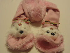 Pink little girls winter Scarf with white Dog heads on both ends cute