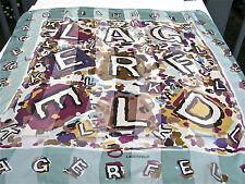 "KARL LAGERFELD SILK SCARF NAME LOGO  34"" FESTIVE ABSTRACT ART PALE GREEN VIOLET"