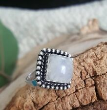 Rainbow Moonstone Ring 925 Antique Boho Square Frame Sterling Silver  size 8 US