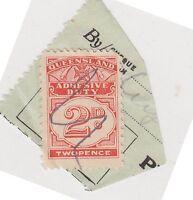 (JK-76) 1940 QLD 2d adhesive duty on piece (CY)