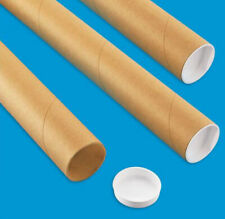 "3 Mailing Tubes with End Caps (2"" x 30"") Shipping Poster Artwork Print Packing"