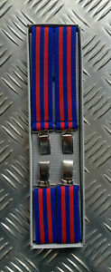 Retro Vintage Unisex Slim Clip-On Elastic Braces Suspenders Adjustable Blue Red