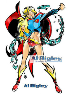 Sexy SUPERGIRL Full-Color Art Print! DC Comics! Superman!