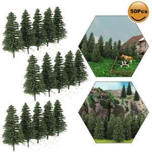 50pcs Model Pine Trees 5cm Deep Green Pines for N Scale Model Railroad Layout