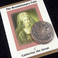 RUSSIA 5 KOPEK - Catherine the Great HUGE COPPER COIN with Certificate 1763-1796