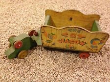 Vintage Fisher Price #171 The Toy Wagon Pull Toy Incomplete Circa 1942