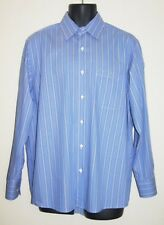 Lacoste Mens Striped Long Sleeve Dress Shirt Sz 42 L Made in France Blue Stripes