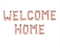 """Welcome Home Balloons Banner 16 """" Rose Gold Foil Surprise Party Inflate Self Air"""