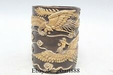 "5"" China Royal Bronze 24K Gold Silver Two Phoenix Pencil Vase Pen Case Brush Pot"