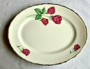Vintage Royal Swan - Staffordshire - Anniversary Rose Platter, 22 KT Gold edged