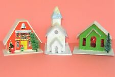 Vintage Christmas Village Cardboard Plastic Houses Church Japan Hong Kong Lot 45