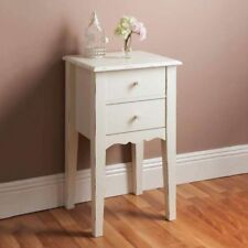 Victoria White Wooden 2 Drawer Desk Bedroom Side Table Chest Cabinet Stand