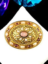 GORGEOUS SIGNED MICHAL GOLAN AMETHYST CABOCHON FAUX PEARL FLORAL BROOCH PENDANT