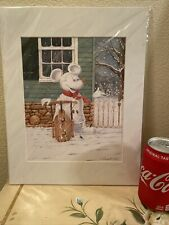 New Retired print from David Doss for Disney Mickey Mouse as a snowman Rare!