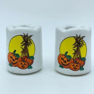 Vintage Jack-o-lanterns Pumpkins Moon Ceramic Vigil Candle Holders Set of 2
