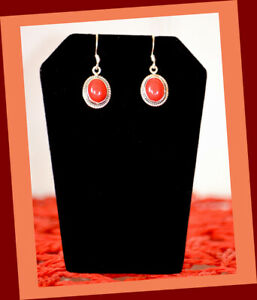 Sterling Silver Natural Red Coral Gemstone Dangle Drop Hook Earring Jewelry