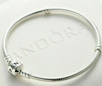 Authentic Pandora Silver Barrel Clasp Bracelet Snake Charm, With GIFT Pouch Mome