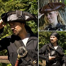 Quality Leather Pirate Tricorn Hat. Costume Re-enactment Or LARP Black or Brown