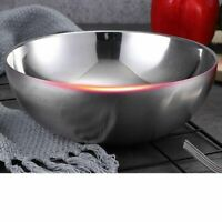 1 Stück Edelstahl Doppelwand Servierschüssel für Nudelsuppe Salat Spaghetti