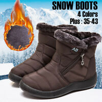 Women's Winter Warm Shoes Fabric Fur-lined Slip On Ankle Snow Boots Waterproof