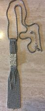 GUESS NECKLACE SILVER TASSEL, RHINESTONES
