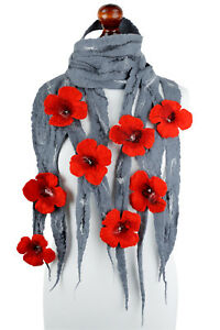 Stylish gray felt scarf for women with romantic flowers, airy & breathable wool