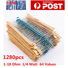 1280pcs Metal Film Resistor Kit 64 Values 1-10 Ohm Assorted Resistors 1/4 W AU
