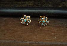 Vintage Aquamarine Blue Crystal & Turquoise Flower Gold Plated Stud Earrings