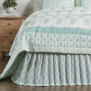 VHC Avani Sea Glass Paisley Country Farmhouse Chic Gathered Bed Skirt