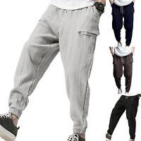 Men Long Sports Pants Fitness Gym Tracksuit Bottom Casual Trousers Sweatpants