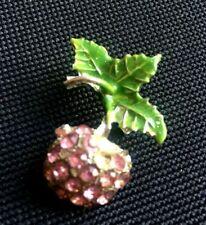 Girls Elegance stylish Green leaves Pink A wonderful Brooch small Inlaid crystal