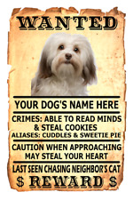 Havanese Dog Wanted Poster Flex Fridge Magnet Personalized Dogs Name Art