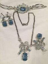 Aqua Blue Rhinestone Necklace Earrings Bracelet Brooch Set Silver