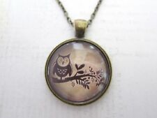 Cute Owl on a Branch Pendant Glass Necklace New in Gift Bag Stocking Filler