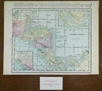 "Vintage 1902 CENTRAL AMERICA Map 14""x11""~ Old Antique Original COSTA RICA"