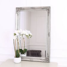 Rhone Large Rectangle Wall Mirror - Living Room Mirror - 60x90cm - Silver Framed