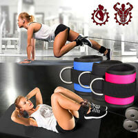 Padded Ankle Straps for Cable Machines Strength Fitness Leg & Glute With D Ring#