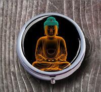BUDDHA ORIENTAL RELIGION PILL BOX ROUND METAL -jkh6Z