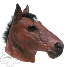 NEW ! Latex Animal Realistic BROWN HORSE Cosplay Fancy Dress Up Carnival Mask