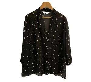 Marina Rinaldi Made In Italy Womens Black Spot  Blouse Size 25 Preowned GC