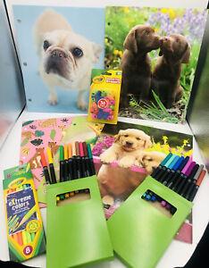Back To School Crayola Pencil Top Erasers Colored Pencils Markers 5 Folders
