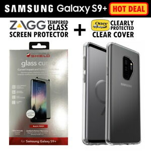 Zagg S9+ Glass Screen Protector + Otterbox Clear Case Cover for Galaxy S9 Plus