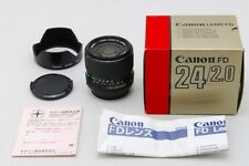 2955#GC Canon FD 24mm f/2 Lens with Hood and Box Near Mint