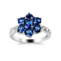 European Flower Style Swiss Blue Topaz Gemstone Silver Ring Size 6-10 For Woman