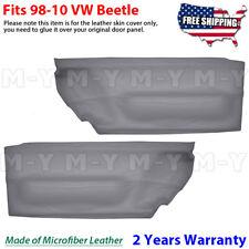 Door Panel Insert Card 2pcs Leather Cover Fits for Volkswagen Beetle 98-10 Gray