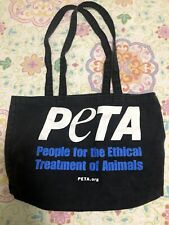 Vintage PETA Canvas Tote Bag Black