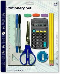SCHOOL STATIONARY 14PC SET PEN RULER  PENCIL CALCULATOR STATIONERY BACK TO CLASS